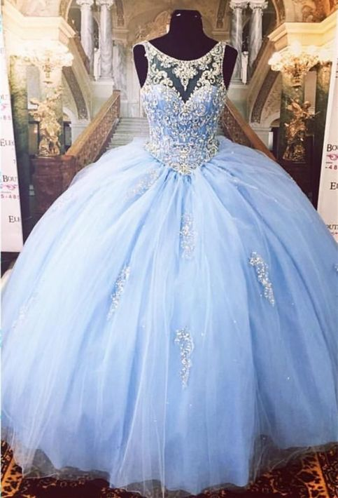 Cinderella Ice Blue Ball Gown Beaded Luxury Quinceanera
