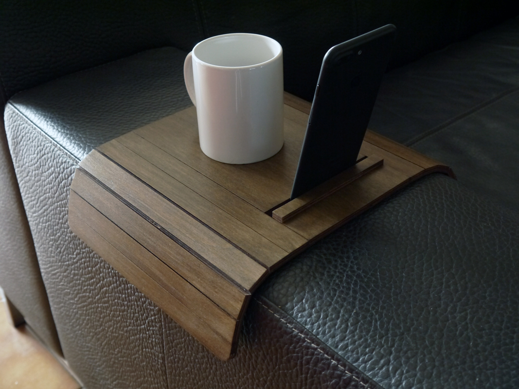 Laser Cut Wood Sofa Arm Table With Cell Phone Standsofa Tablesofa