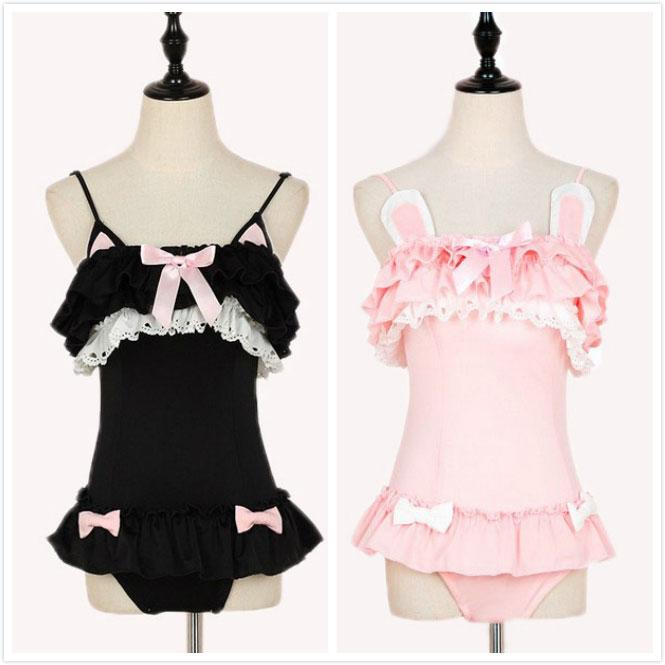 e5daff9463 Pink Black Kawaii Ruffled Kitty One-Piece Swimsuit Rabbit Lace Bowknot
