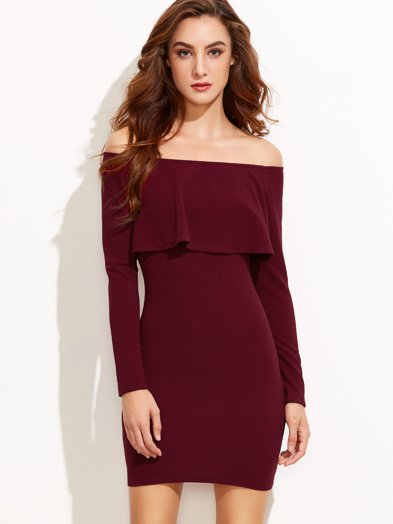 d157e0b8d9f7a Women's Burgundy Mini Dress Ruffle Off Shoulder Bodycon Outfit Long ...