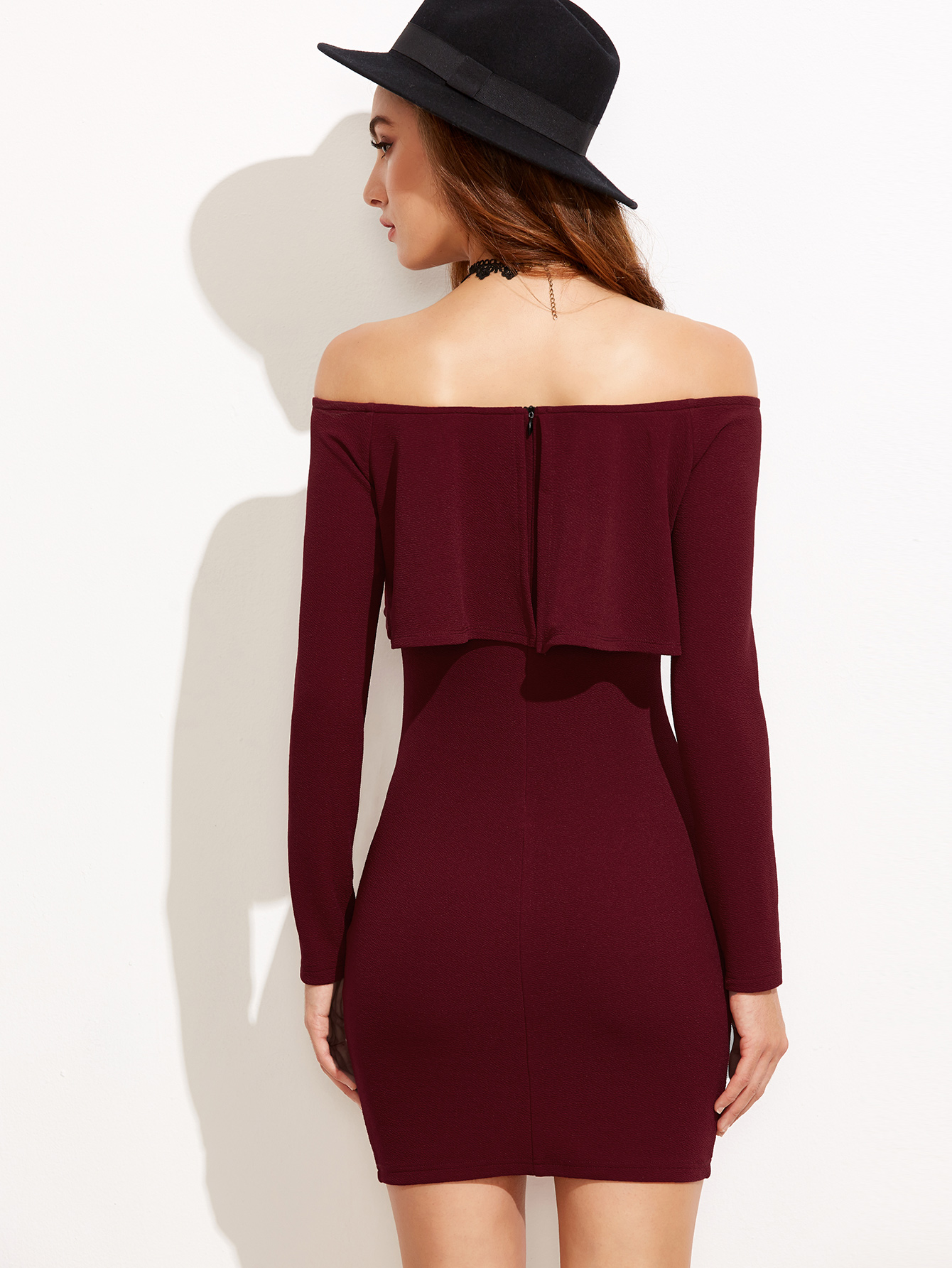 1275fbeb5133 ... Women's Burgundy Mini Dress Ruffle Off Shoulder Bodycon Outfit Long  Sleeve XS-L - Thumbnail ...