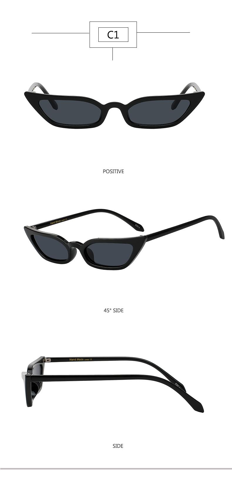 6122e80d79d8c Cat Eye Sunglasses Women Fashion Vintage Small Lense Eyeglasses ...