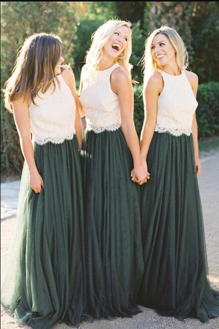 Two Piece White Lace And Dark Green Tulle Long Bridesmaid