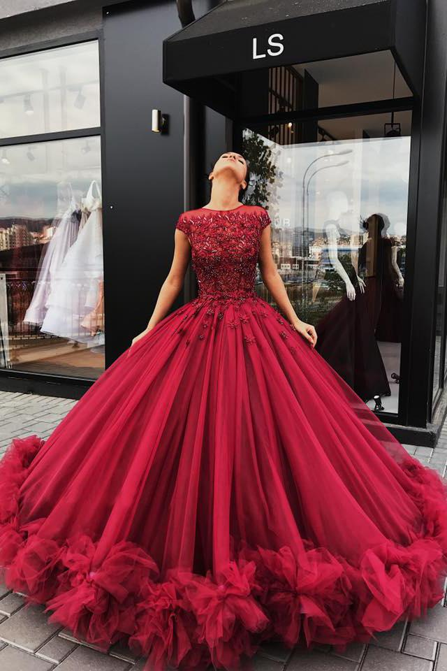 Red Tulle Appliques Ball Gown Prom Dress, Sweet 16 Dresses ...