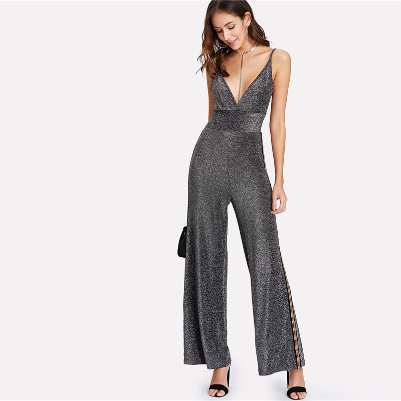 bea874eb1d8 Silver Tape Side Glitter High Waist V Neck Spaghetti Strap Jumpsuit