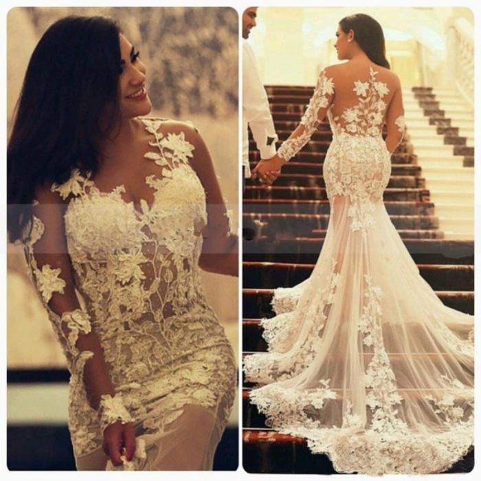 ae3f2b3656 Sexy Mermaid Long Sleeves Lace Appliques Wedding Dress