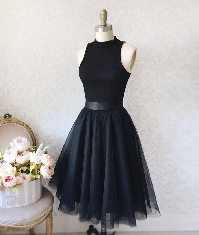 Simple Black Tulle Short Prom Dress Black Homecoming Dress Dress