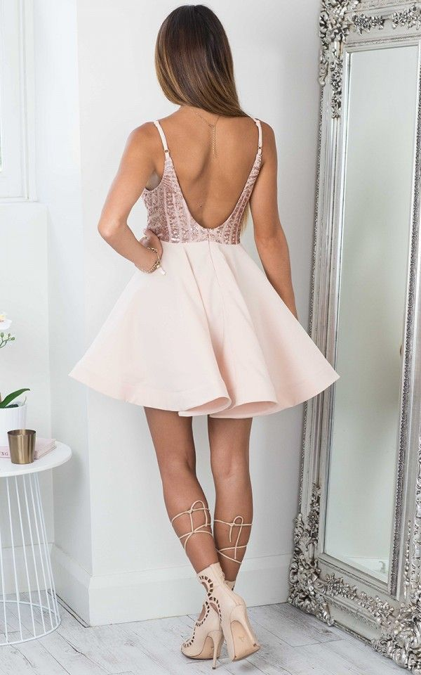 cdbec00fc38 Straps Short Rose Gold Sequins Short Homecoming Dress - Thumbnail 1 ...