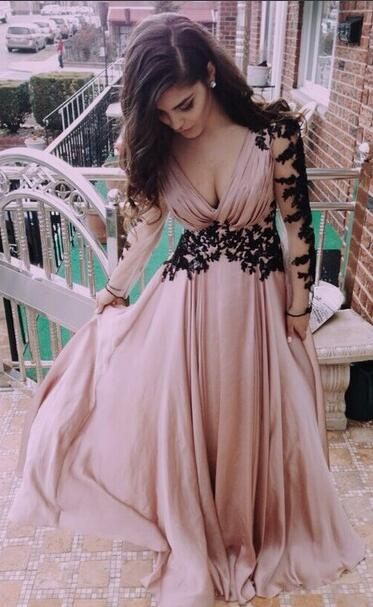 Blush Pink Long Sleeves Chiffon Prom Dress With Black Lace From Halundress