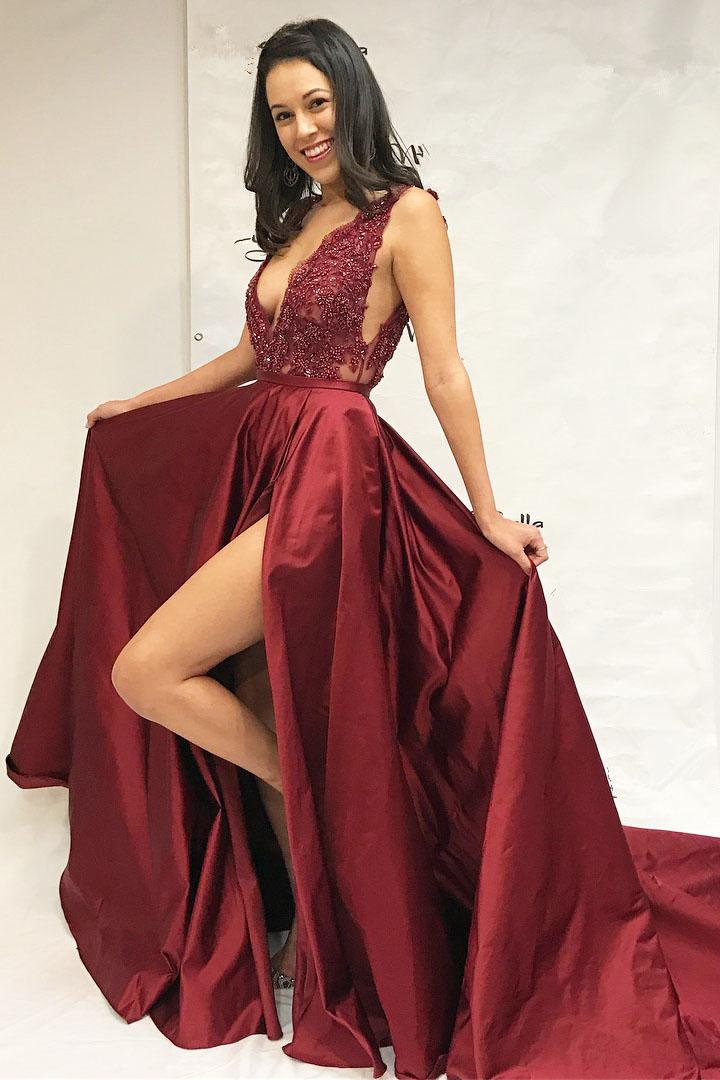738f87a22715 V Neck Burgundy Long Slit Prom Dress with Train · miyasbridel