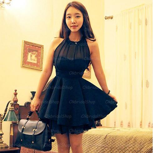 ffe4a0273b8 high neckline navy prom dress