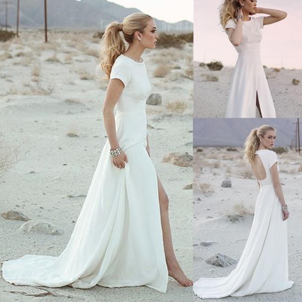 Simple Long White Wedding Dress 52 Off Awi Com
