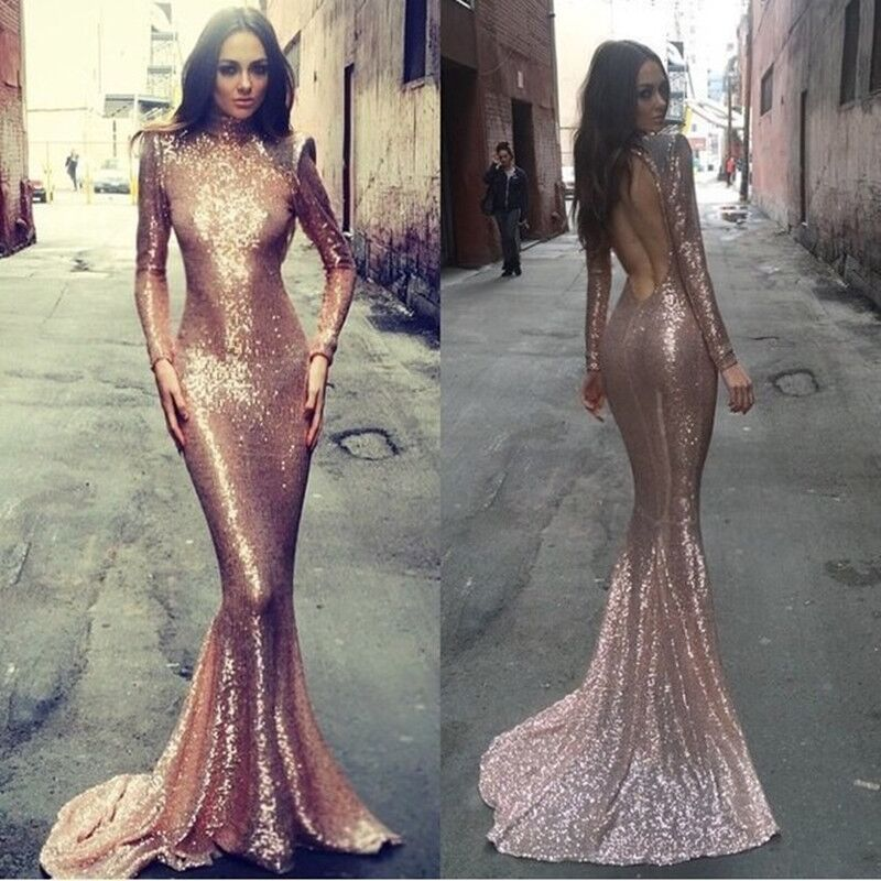 Long sleeve mermaid prom dress, rose gold prom dresses, sequin prom ...