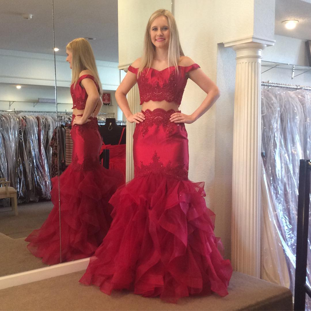 e9edf99a43e3 Two Piece Long Prom Dress, Red Long Prom Dress on Storenvy