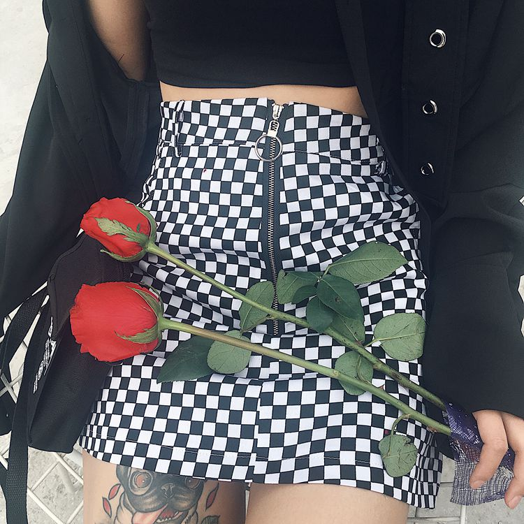 ... Skater Skirt – Coquetry Clothing. Black   white checkered skirt c14a1fcdc