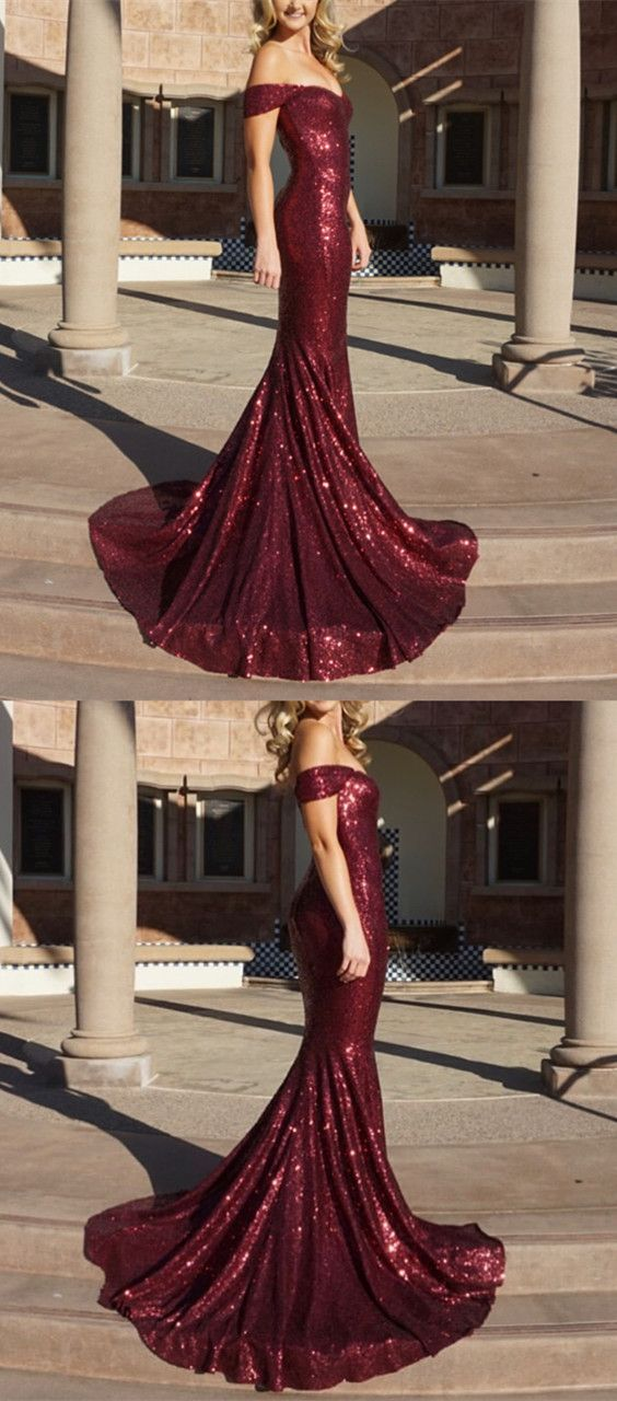 b768dd56c2ec Red Sequin Mermaid Off Shoulder Sexy Prom Dresses, Evening Dress, Party Prom  Dress G259
