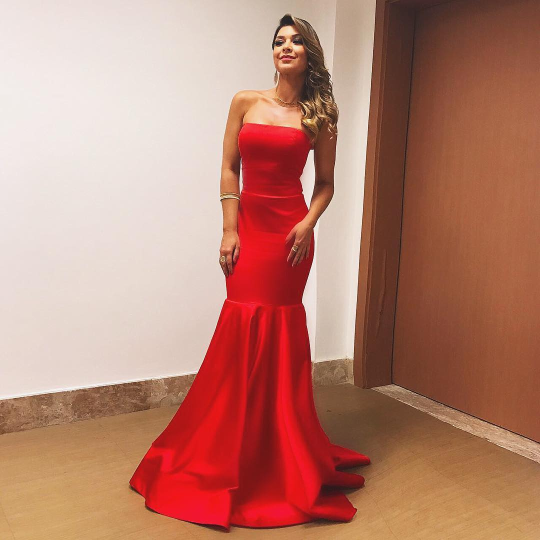 093f929184 Red Satin Long Prom Dresses 2018 Mermaid Evening Dresses Strapless Sexy  Party Formal Gowns