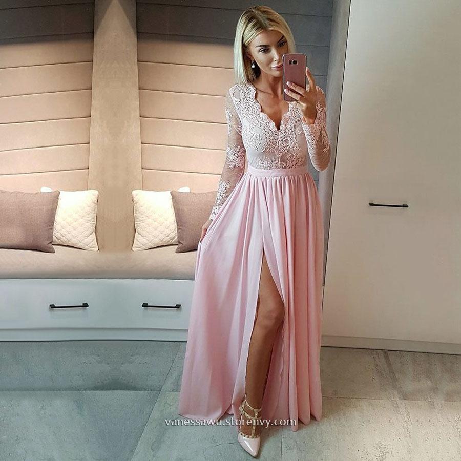 d0a0acc7aaab Cheap Pink Prom Dresses,A-line V-neck Long Formal Dresses,Chiffon ...