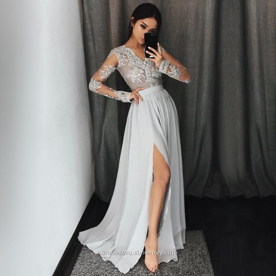42d59c5c8c2e Long Sleeve Prom Dresses,A-line V-neck Long Formal Dresses,Chiffon Evening  Dresses with Appliques Lace Split Front,#020104820 on Storenvy