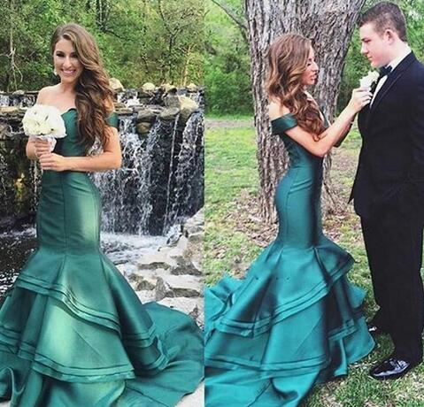 Stunning Mermaid Evening Dresses Tiers Fitted Sexy Off Shoulder