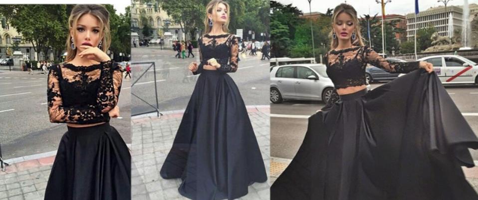 6cfcf5141c Sexy Black Prom Dress Lace Long Sleeve Prom Dress 2016 Prom Dress Two  Pieces Prom Dress