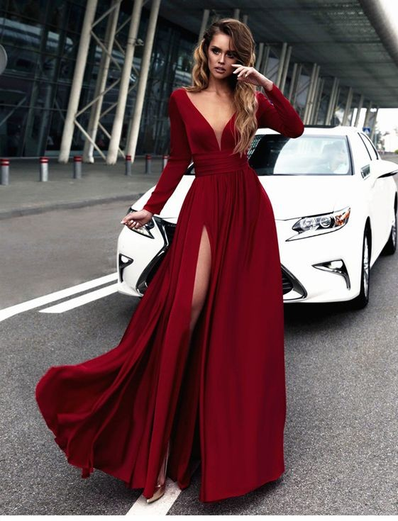 d4d84472099 Sexy Red Prom Dress V-neck Long Sleeves Prom Dresses Chiffon Evening Dress  Formal Dress on Storenvy
