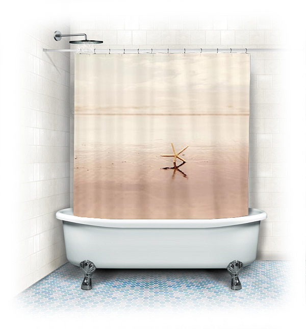 Fabric Shower Curtain Dancing Starfish