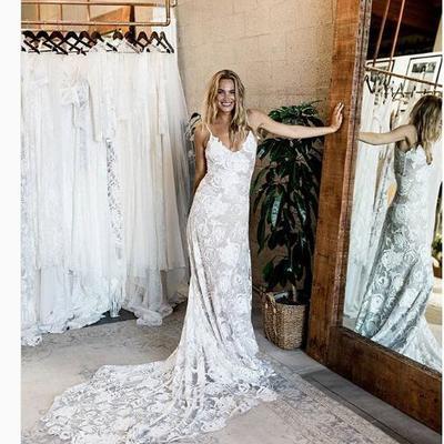 ce45a95325 Beach wedding dress,v-neck lace wedding dress, long wedding dresses bridal  dress