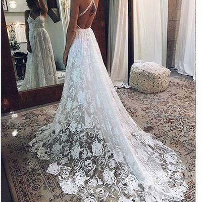 bdc5a38383 Boho wedding dress, beach halter lace wedding dress, long wedding dresses,crisscross  back