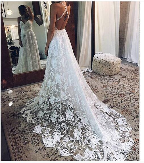 2018 Boho Wedding Dress, Beach Halter Lace Wedding Dress, Long ...