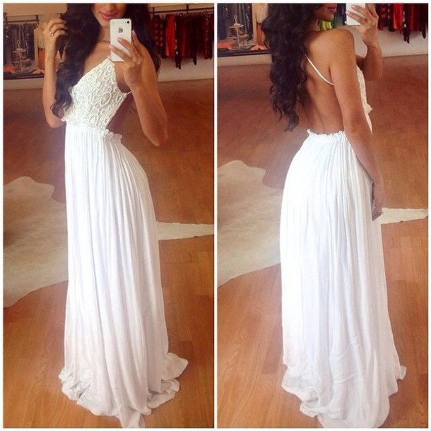 White Lace Backless Prom Dress,Open Back Thin Straps Evening Gown ...