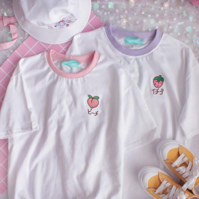 2f3f20a27 Peach Japanese embroidered t-shirt on Storenvy