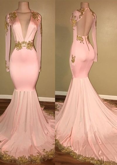 Blush Pink Deep V Neck Mermaid Evening Dress With Gold