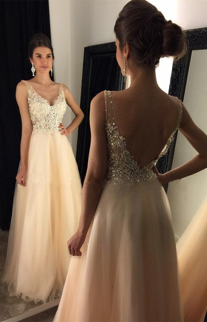 7b7c3cad Sexy V-neck Lace Applique Beads Evening Dresses Floor Length Tulle Prom  Dress Sheer Straps