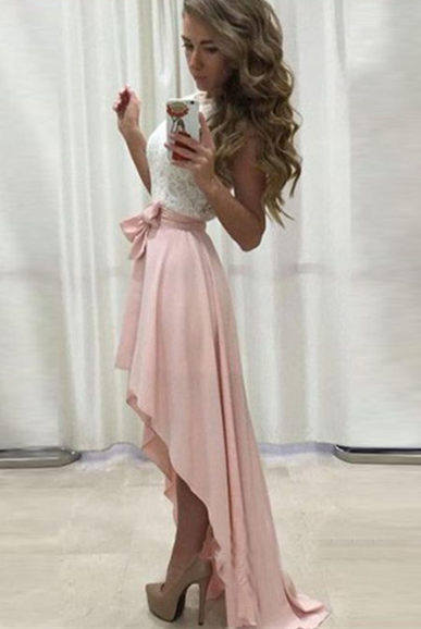 Blush Pink White Cheap Lace Prom Homecoming Dress High Low