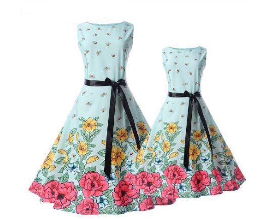 b7bcfc311722 Mother Daughter Dresses Summer Family Matching Outfits Teens Girls ...