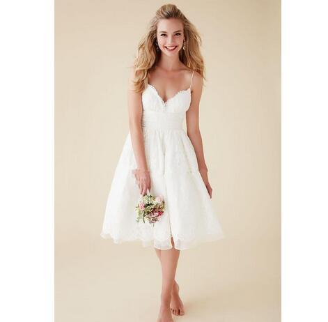 1673406d2703 2019 Cute Short Beach Wedding Dresses V Neck Spaghetti Straps ...