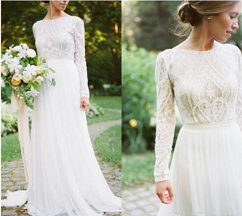 Detail Lace Floral Vintage Bohemian Country Long Sleeve Wedding Dresses  2018 Jewel Fairy Plus Size Garden Farm Bridal Reception Dress from MissZhu  ...