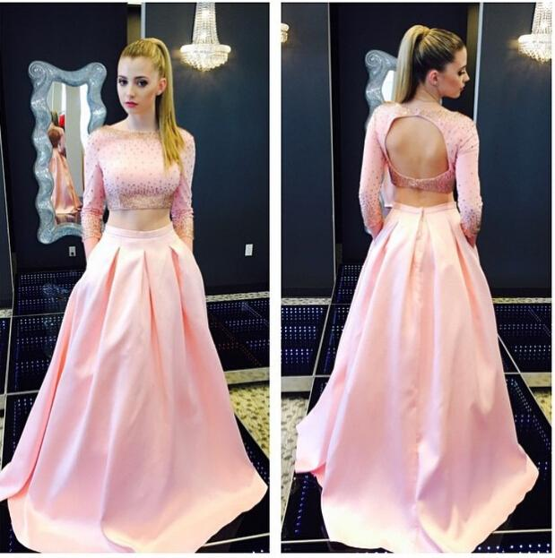 216740955f9 Custom Made Popular Pink Two Pieces Prom Dresses