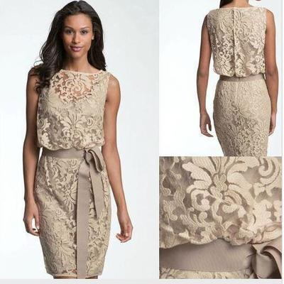 e47d74a5d78c6 2018 vintage mother of the bride dresses jewel neck illusion full lace  champagne with sashes short