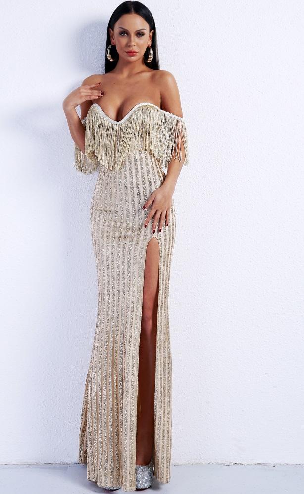 700793b33b Gold Fringe Glitter Evening Dress on Storenvy