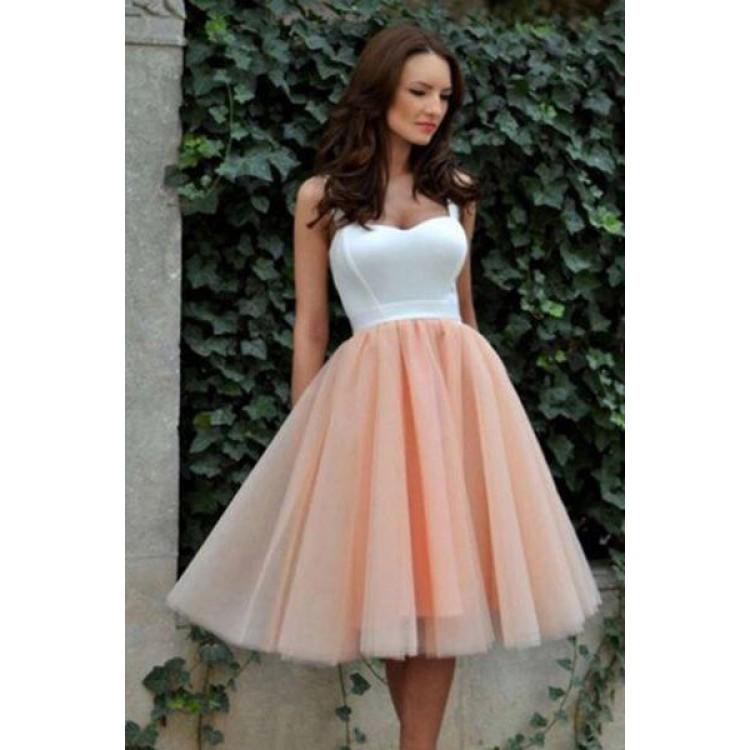 Straps White Short Homecoming Dresses,Lovely Prom Dress,Spaghetti ...