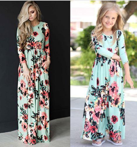Mother Daughter Bohemian Maxi Green Dress Floral Long