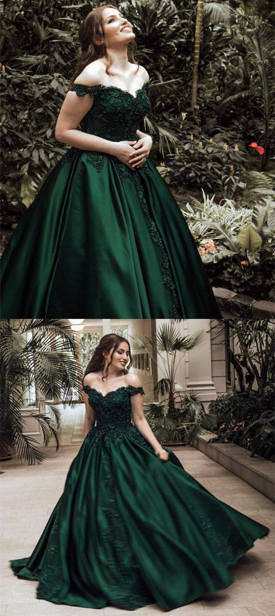 Dark green prom dress,emerald green prom gowns,off the shoulder ball ...
