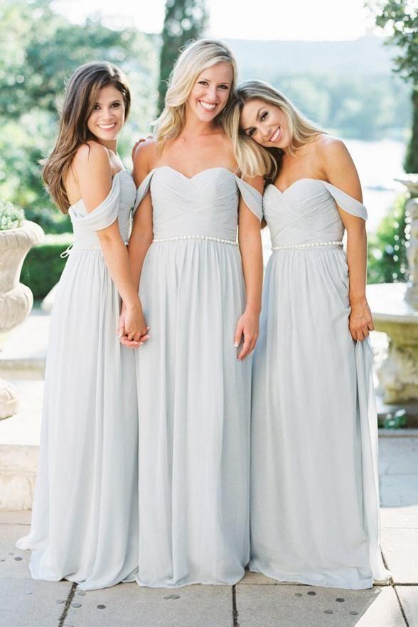 58e518816d66 2018 Off Shoulder Bridesmaid Dress, Chiffon Baby Blue Bridesmaid Dresses,  Long Bridesmaid Dress