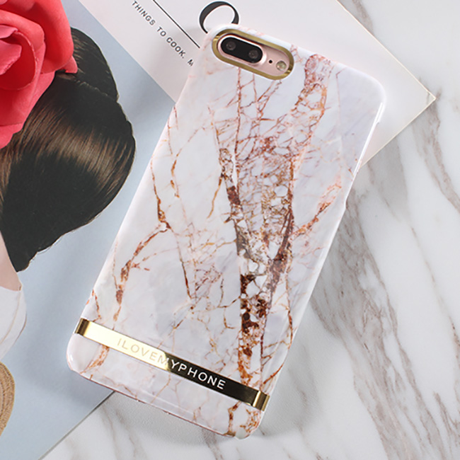 hot sale online 6848d 72613 Glossy Marble Phone Case For iphone 7 Case Fashion Chic Gold Bar Back Cover  Hard PC Cases For iphone7 7 Plus Fundas Coque from Super Cute