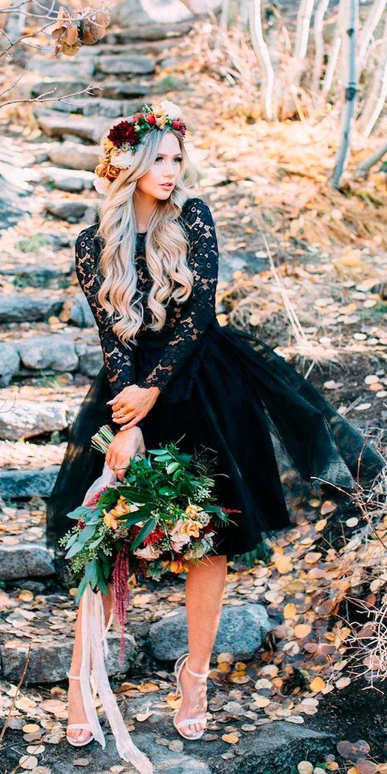 Vintage Black Mini Short Wedding Dresses Sheer Long Sleeve Lace Bridal Gowns