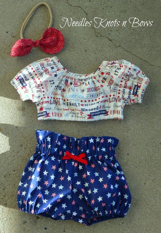 11efc3983 Girls 4th of July Outfit, Patriotic Crop Top & High Waist Bloomers, Baby  Girls