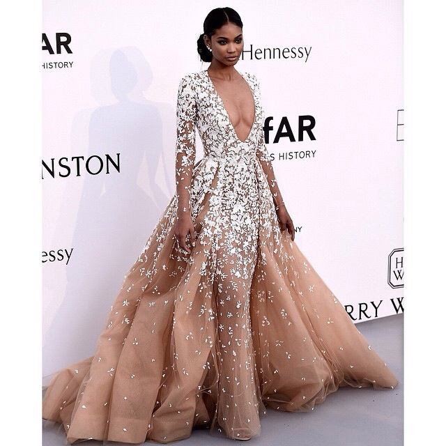 021ac15d913 Deep V Neck Sexy Champagne Tulle Prom Evening Dress with Lace Long Sleeve -  Thumbnail ...