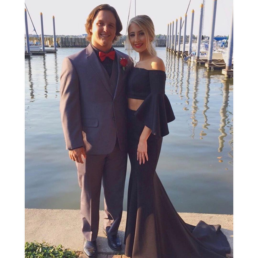 0ad51d9d55c59 Black Two Piece Long Mermaid Prom Dress Off Shoulder Long Sleeve Ruffles  Sweep Train Evening Party